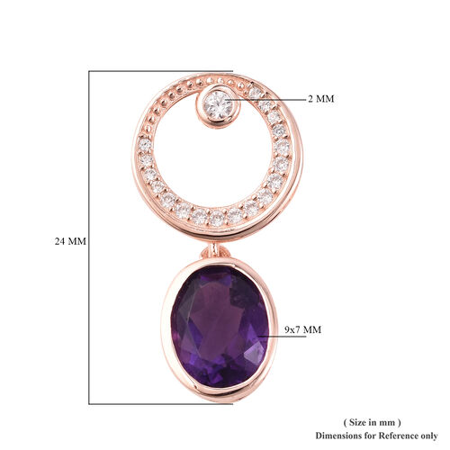 Isabella Liu - Twilight Collection - Lusaka Amethyst (Ovl), Natural White Cambodian Zircon Earrings (with Push Back) in Rose Gold Overlay Sterling Silver 4.520 Ct