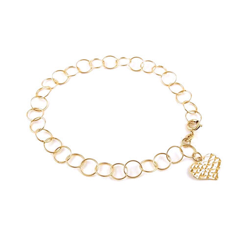 New York Close Out Yellow Gold Overlay Sterling Silver Round Link Bracelet (Size 7.5) with Heart Cha