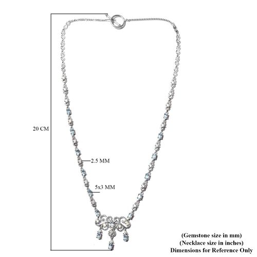 Santa Teresa Aquamarine and Natural Cambodian Zircon Necklace (Size 18) in Platinum Overlay Sterling Silver 5.60 Ct, Silver Wt. 16.90 Gms