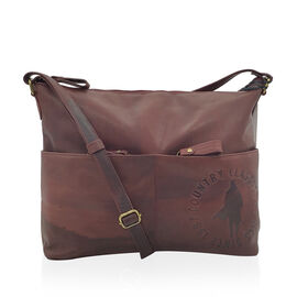 MCS Country Classics: 100% Genuine Leather Handbag - Burgundy