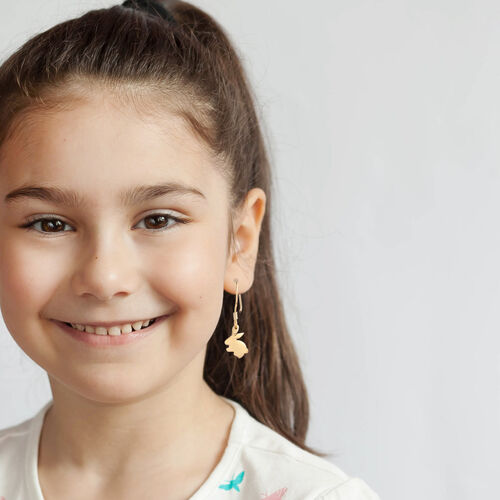Bunny Hook Earrings for Kids in Gold Plated Silver