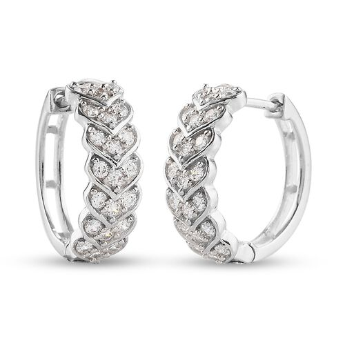 J Francis Platinum Overlay Sterling Silver Full Hoop Earrings (with Clasp) Made with SWAROVKSI ZIRCO