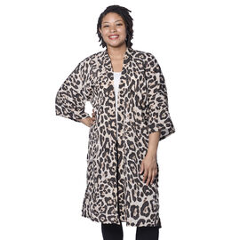 Beige Leopard Pattern Duster Long Kimono (Size upto 24)