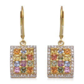 Rainbow Sapphire (Sqr), Natural Cambodian Zircon Lever Back Earrings in Yellow Gold Overlay Sterling