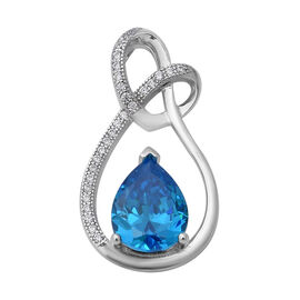 ELANZA Simulated Blue Topaz and Simulated Diamond Drop Pendant in Rhodium Plated Silver
