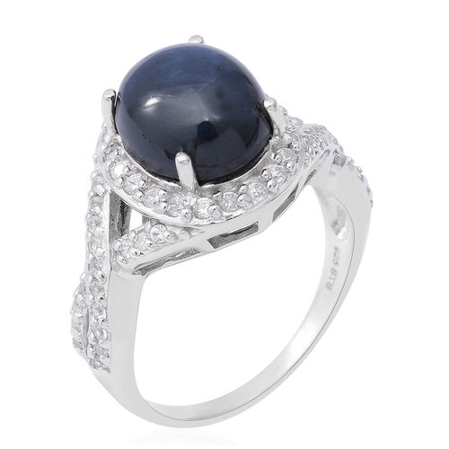 Star Sapphire (Ovl 12x10 mm), Natural White Cambodian Zircon Ring in Rhodium Overlay Sterling Silver 8.71 Ct.
