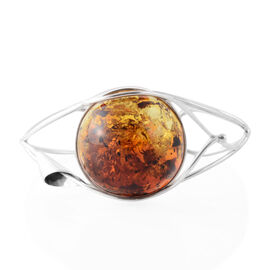 Extremely Rrae Bi Colour Baltic Amber Bangle (Size 7.5) in Sterling Silver, Silver wt 17.00 Gms