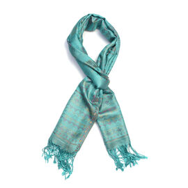 SILK MARK - 100% Superfine Turquoise, Purple and Multi Colour Flower Pattern Scarf (Size 180x70 Cm)