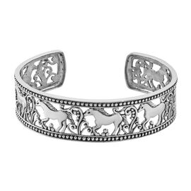 Royal Bali Collection Sterling Silver Horse Cuff Bangle (Size 7.5), Silver wt 26.20 Gms