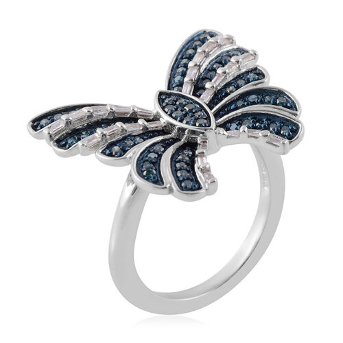 Blue and White Diamond (Bgt and Rnd) Ring in Platinum Overlay Sterling Silver 0.500 Ct.