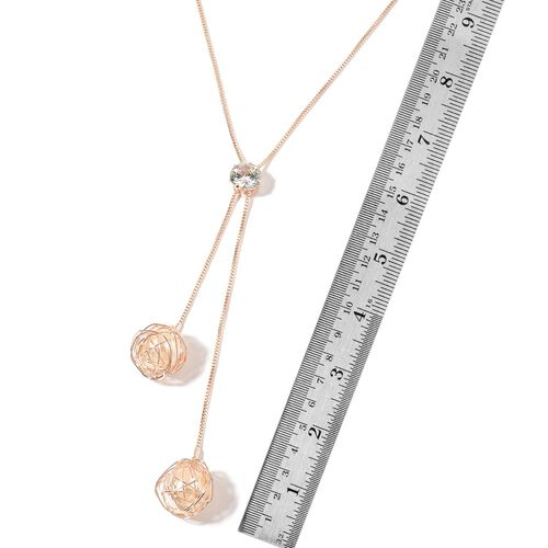 Classic Collection - Simulated Pearl (Rnd), Simulated Diamond Drop Necklace (Size 24) in Rose Gold Plated