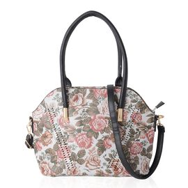 Grey and Multi Colour Floral Pattern Tote Bag with Removable Shoulder Strap Size 36x31x25x14 Cm