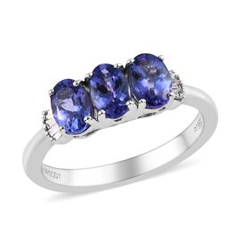 RHAPSODY 1.50 Ct AAAA Tanzanite and Diamond Trilogy Ring in 950 Platinum 5.30 Grams