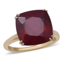 One Time Deal- 9K Yellow Gold African Ruby (Cushioin 12x12mm) Ring 11.00 Ct.