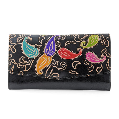 100% Genuine Leather Black Colour Handpainted Paisley Pattern Wallet with RFID Blocking (Size 21x12