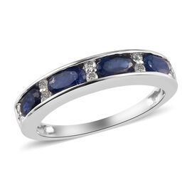 9K White Gold Natural Burmese Blue Sapphire and Diamond Band Ring 1.25 Ct.