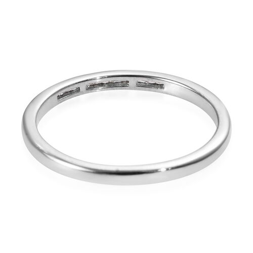 Diamond (Bgt) Band Ring in Platinum Overlay Sterling Silver 0.06 Ct.