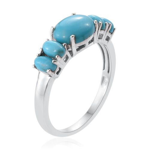 Arizona Sleeping Beauty Turquoise (Ovl 1.75 Ct) 5 Stone Ring in Platinum Overlay Sterling Silver 2.500 Ct.
