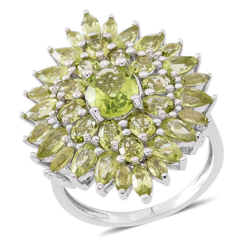 8 Carat Hebei Peridot Cluster Ring in Rhodium Plated Sterling Silver 7.60 Grams