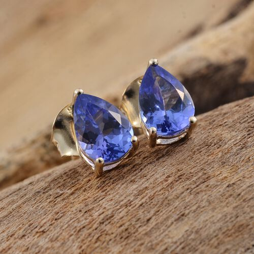 AA Tanzanite Stud Earrings (with Push Back) in 9K Gold 1.25 Ct.