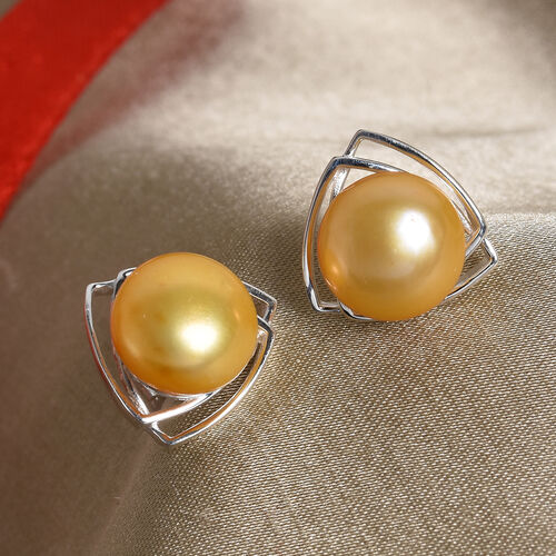 Golden Freshwater Pearl Stud Earrings (with Push Back) in Sterling Silver