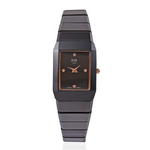 EON 1962 Swiss Movement 3 ATM Water Resistant Watch with Sapphire Glass and Black Ceramic Strap