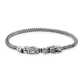 Royal Bali Collection - Sterling Silver Tulang Naga Bracelet (Size 8) with Dragon Head Clasp, Silver