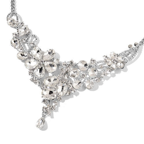 Simulated Diamond and White Austrian Crystal BIB Necklace (Size 22) in Silver Tone
