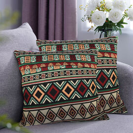 Set of 2 - Turkish Kilim Pattern Cushion Covers - Green and Multi