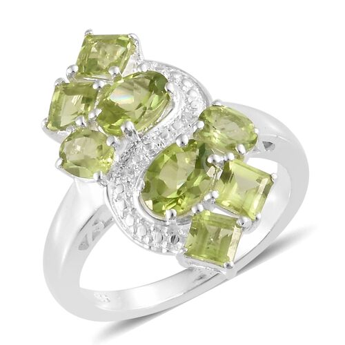 Hebei Peridot (Sqr and Ovl), Natural Cambodian Zircon Ring in Sterling Silver 4.000 Ct.