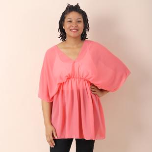 JOVIE Chiffon Top with V Shape Neck - Pink