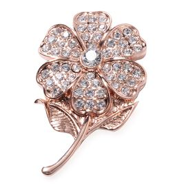 Close Out Deal - AAA  Austrian White Crystal (Rnd) Flower Brooch in Rose Gold Plated.