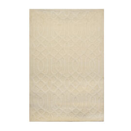 New Wool - Hand-Tufted 3D Moroccan Pattern Carpet (Size 152x228 Cm) - Ivory Colour