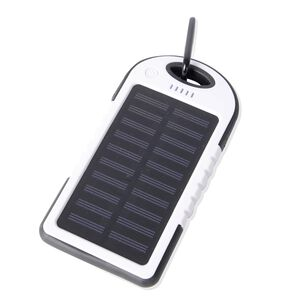 DOD- 4000mAh Power Bank (Size 15x7.5 Cm) with Solar Panel, 2 USB Ports, LED Flashlight, Buckle and USB Cable (Size 30 Cm) - White and Black Colour (Navigation Fashion & Home Accessories) photo