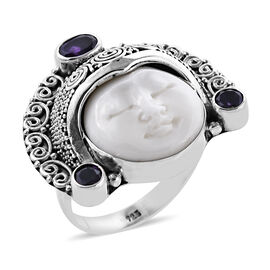 Princess Bali OX Bone Carved Face and Amethyst Ring in Sterling Silver 10.33 Grams