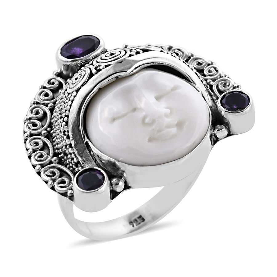 Princess Bali Ox Bone Carved Face And Amethyst Ring In Sterling Silver 10 33 Grams M3391480 Tjc