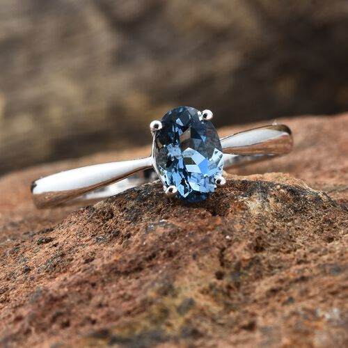 Close Out Deal- 14K White Gold AA Santa Maria Aquamarine (Ovl 7x5 mm) Solitaire Ring 0.650 Ct.