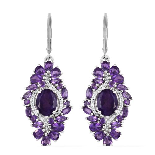 Lusaka Amethyst (Ovl), Natural Cambodian Zircon Lever Back Floral Earrings in Platinum Overlay Sterling Silver 8.000 Ct. Silver wt 7.11 Gms.