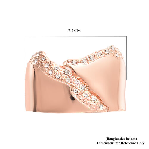 White Austrian Crystal Chunky Bangle (Size 6.5) in Rose Gold Tone