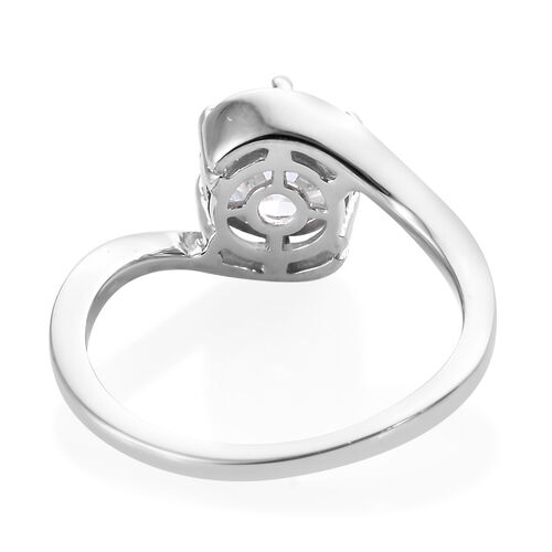 J Francis Platinum Overlay Sterling Silver (Rnd) Solitaire Ring Made with Swarovski Zirconia