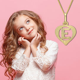 Children Diamond Cut E Initial Heart Pendant in 9K Yellow Gold