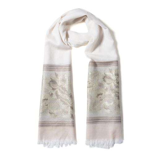 Cream and Light Coffee Colour Floral Pattern Scarf (Size 180x70 Cm)