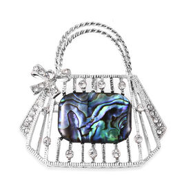 Abalone Shell and White Austrian Crystal Brooch