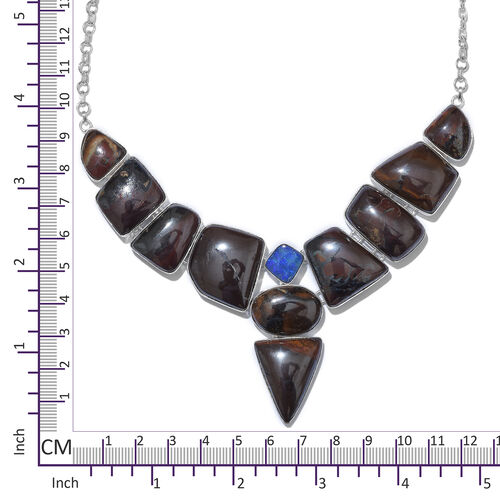 One Off A Kind- Boulder Opal Rock and Opal Double Necklace (Size 18 with 1 inch Extender) in Sterling Silver 214.500 Ct. Silver wt. 29.00 Gms.