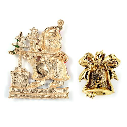 Set of 2 - Multi Colour Austrian Crystal (Rnd) Santa Claus with Christmas Tree and Church Bell Brooch in Gold Tone