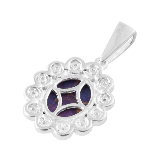 (Option 4) Mojave Purple Turquoise (Ovl 2.40 Ct), Natural Cambodian Zircon Pendant in Sterling Silver 2.500 Ct.