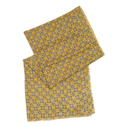 100% Merino Wool Yellow and Purple Colour Abstract Pattern Scarf with Fringes (Size 170X70 Cm)