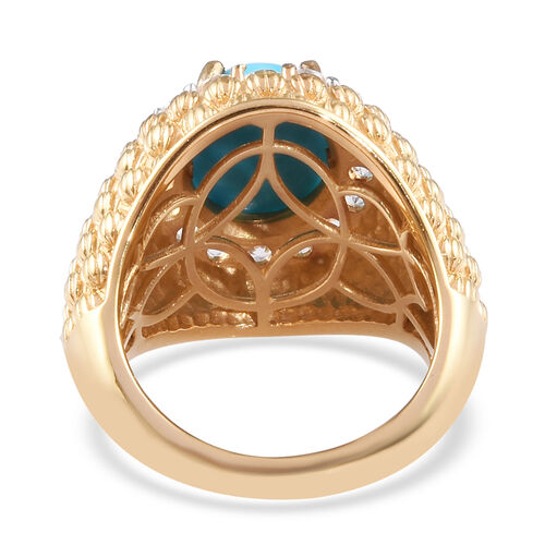 Arizona Sleeping Beauty Turquoise and Natural Cambodian Zircon Ring in 14K Gold Overlay Sterling Silver 3.80 Ct, Silver wt 8.10 Gms
