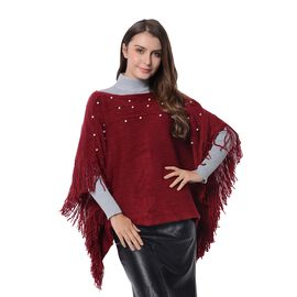 Simulated Pearl Poncho with Tassels (Free Size) Wine Red Colour