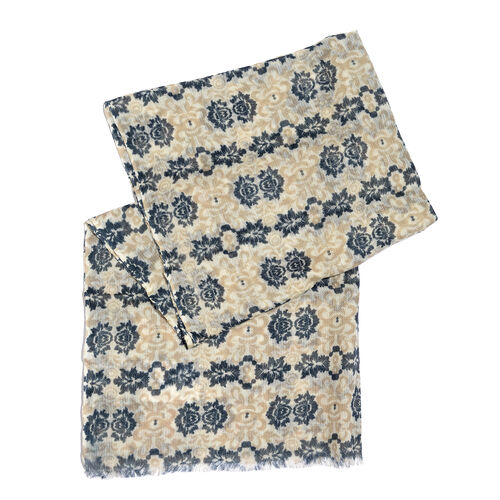 100% Merino Wool Blue, Light Brown and Off White Colour Floral Pattern Scarf with Fringes (SIze 170X70 Cm)